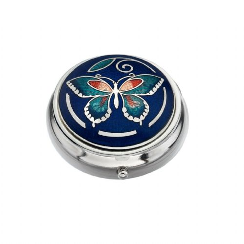 Pill Box Silver Plated Butterfly and Leaf Design Blue Brand New and Boxed
